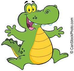 Happy Aligator Or Crocodile Jumping