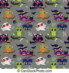 Happy All Hallows Eve nightbirds seamless pattern. Cartoon witch ghost pumpkin bat dracula Halloween owls endless texture. All Saints' Eve concept. Isolated on yellow