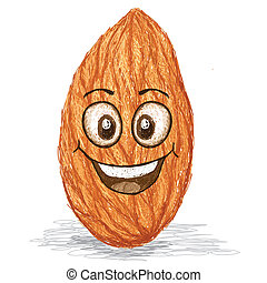 happy almond - happy brown almond nut cartoon character...