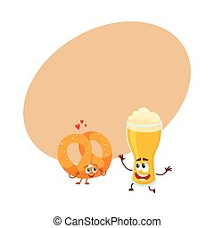 Happy aluminium beer can and pretzel characters having fun together