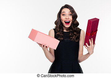 Happy amazed retro styled woman with curly hair opened ...