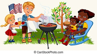 Happy american family cooking barbeque outdoors at home
