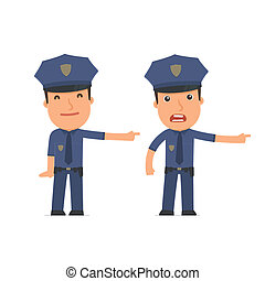 Happy and Angry Character Officer making presentation using his hand