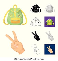 Happy and attribute cartoon, black, flat, monochrome, outline icons in set collection for design. Happy and accessories vector symbol stock web illustration.