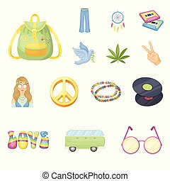 Happy and attribute cartoon icons in set collection for design. Happy and accessories vector symbol stock web illustration.
