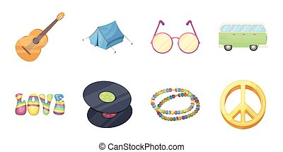 Happy and attribute icons in set collection for design. Happy and accessories vector symbol stock web illustration.