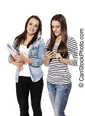 happy and busy students with smartphone and exercising books on white background
