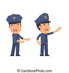 Happy and Cheerful Character Officer making presentation using his hand