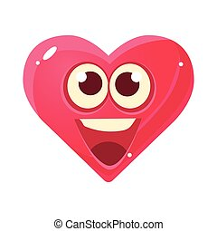 HAppy And Excited Emoji, Pink Heart Emotional Facial Expression Isolated Icon With Love Symbol Emoticon Cartoon Character