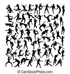 Happy and Fun Breakdancer Silhouettes, art vector design