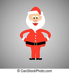 happy and funny santa claus standing with hands on hips - vector