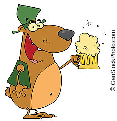 Happy And Intoxicated Bear In Green, Drinking Beer On St Patrick's Day