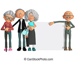 happy and motivated old people with placard 3d