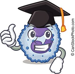 happy and proud of basophil cell wearing a black Graduation ...