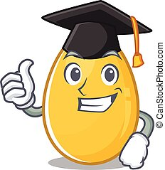 happy and proud of golden egg wearing a black Graduation hat
