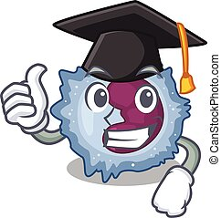 happy and proud of monocyte cell wearing a black Graduation ...