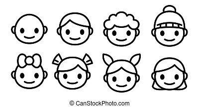 Happy and sad smile cartoon icons set. Little boy head emoji in different moods. Vector outline icons collection isolated.