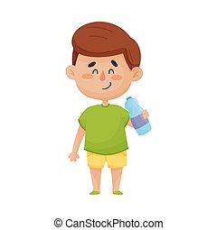 Happy and Smiling Dark-Haired Little Boy Standing With Bottle of Water in His Hand Vector Illustration