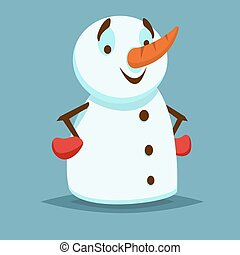 Happy and smiling Snowman with red gloves and hands on her hips. Vector icon flat helper or game character