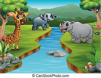 Happy animal cartoon enjoying on the riverside