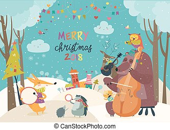 Happy animals celebrating Christmas