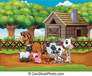 Happy animals farm outside the cage