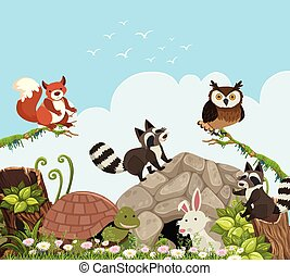 Happy Animals in the Nature