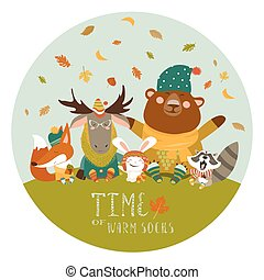 Happy animals meeting autumn