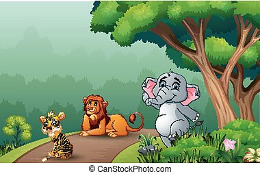 Happy animals on the forest road