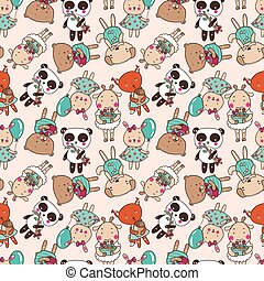 happy animals pattern 2