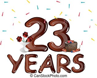 Happy anniversary 23 years with cake