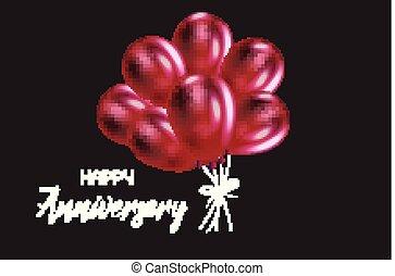 Happy anniversary balloons card