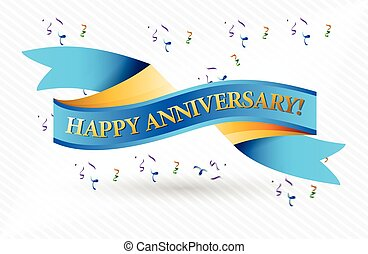 Happy anniversary banner and balloons illustration vectors ...