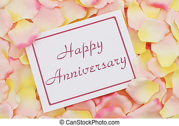 Happy Anniversary card, A white card with text Happy ...