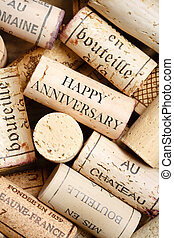 Happy Anniversary card - Greeting card made from wine corks...