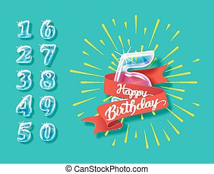 Happy anniversary glass bulb numbers set