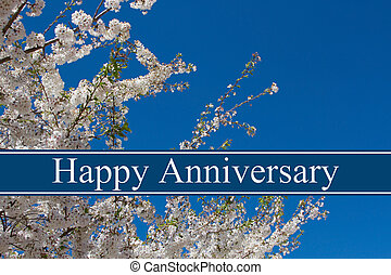Happy Anniversary Greeting, A tree in full bloom with blue ...