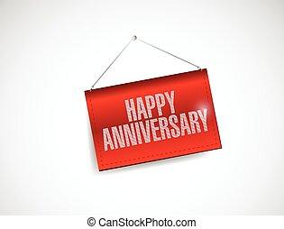 happy anniversary hanging red
