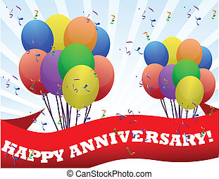 happy anniversary banner and balloons illustration