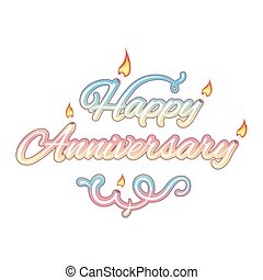 Happy anniversary, isolated text, vector illustration