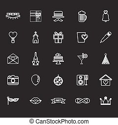 Happy anniversary line icons on gray background