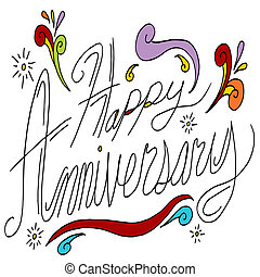 An image of happy anniversary text.