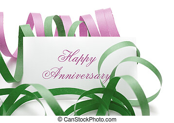 Happy anniversary message - card with green and pink...