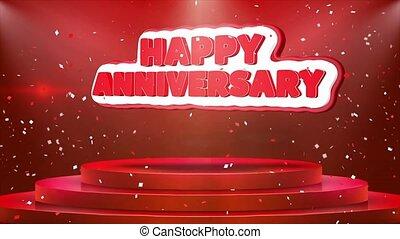 Happy Anniversary Text Animation Stage Podium Confetti Loop Animation