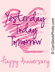 anniversary greeting card with grungy heart, vector background