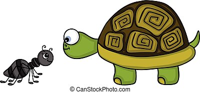 Happy ant and cute turtle