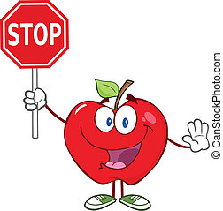 Happy Apple Holding A Stop Sign