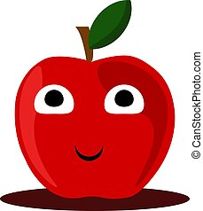 Happy apple, illustration, vector on white background.