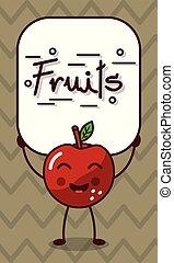 happy apple kawaii cartoon with fruits sign