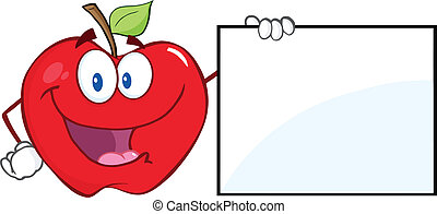 Happy Apple Showing A Blank Sign